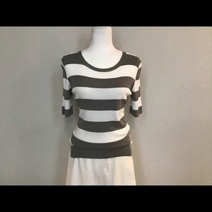 Knit Striped Light Weight Sweater by Theory, Large